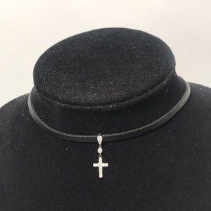 "Jewelry - 12"" Leather Chocker 4"" extension SS CZ Cross Charm"